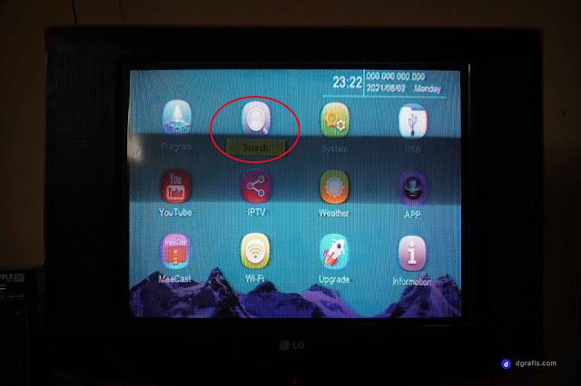 Tampilan menu pada perangkat STB Matrix Apple