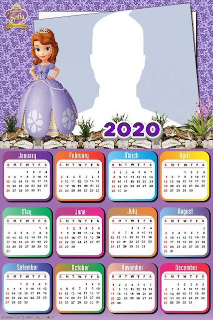 Princesita Sofía: Calendario 2020 para Imprimir Gratis