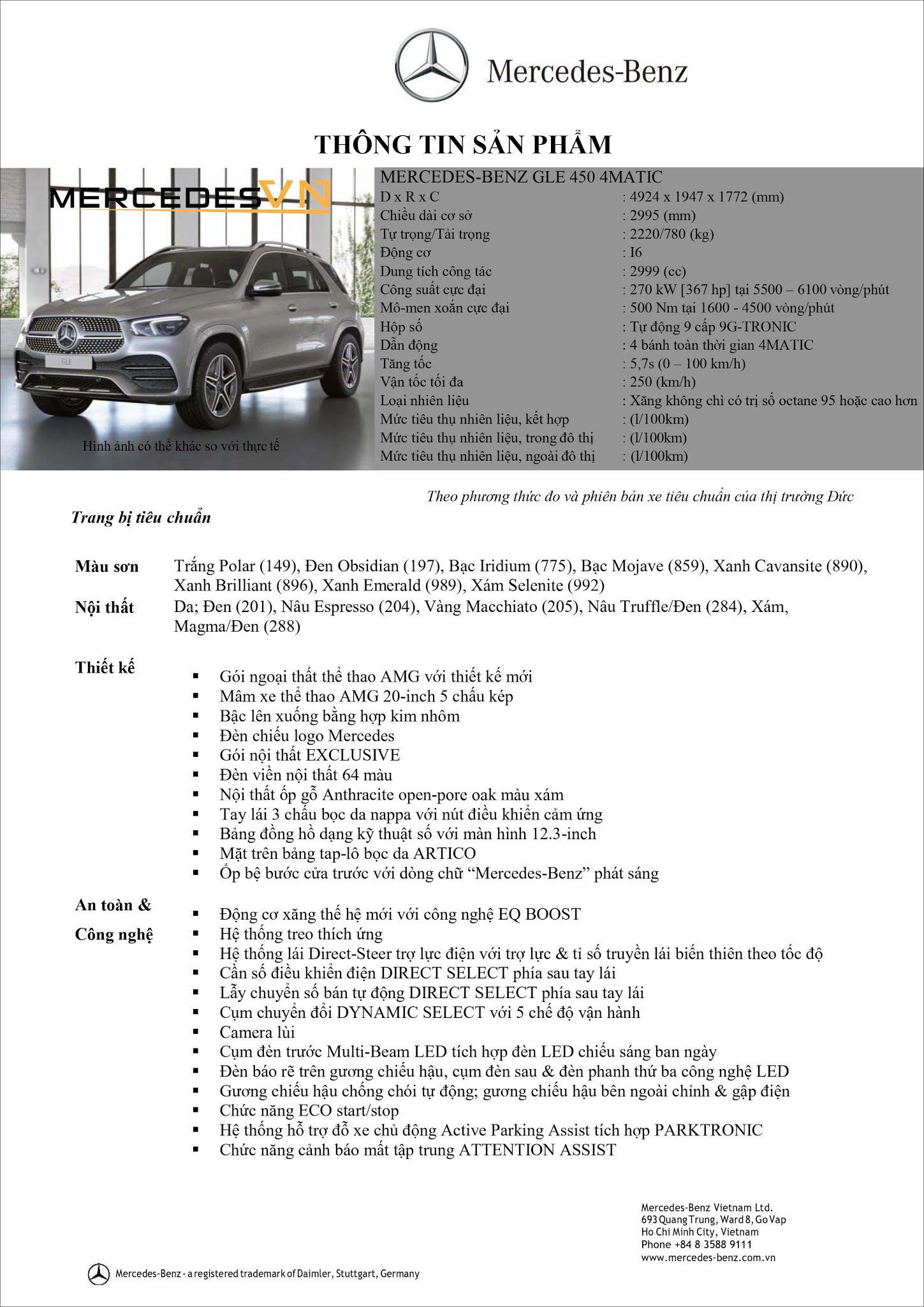 Bảng thông số kỹ thuật Mercedes GLE 450 4MATIC 2021