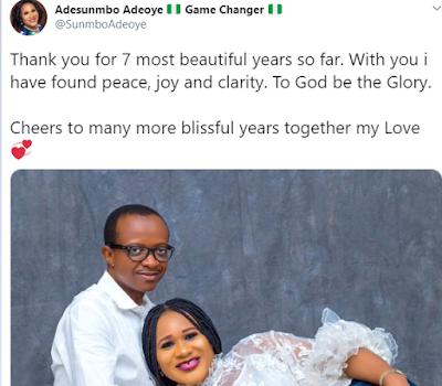 sunmbo%2Badeoye%2Banniversary - Sunmbo Adeoye and her Pastor hubby rejoice seventh wedding ceremony anniversary