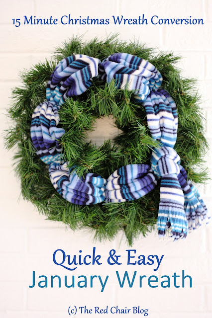 January scarf wreath for front door porch winter decor The Red Chair Blog