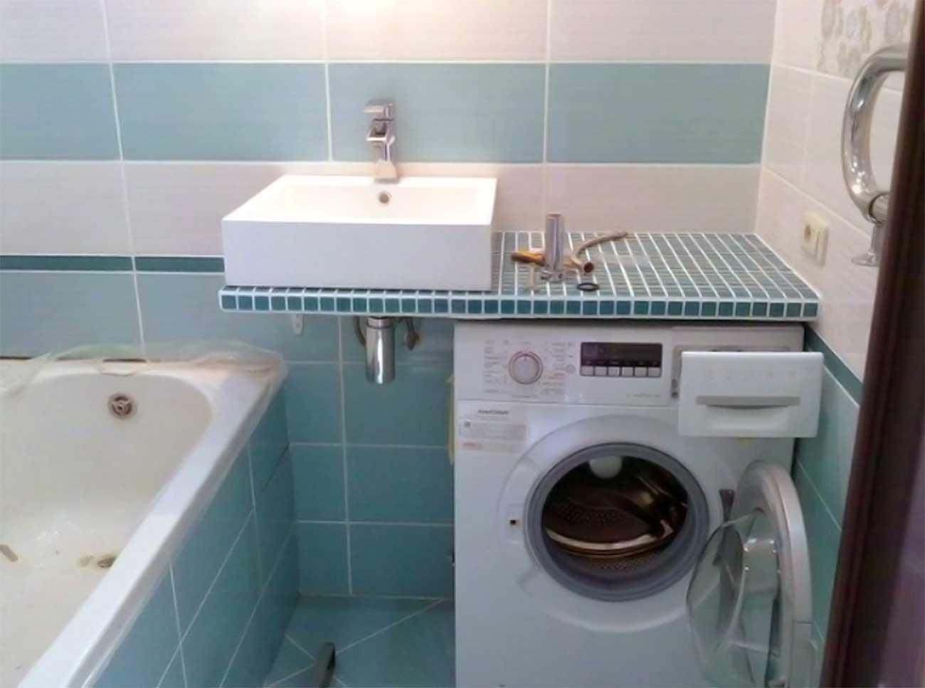 Wie man Waschmaschine in einem kleinen Badezimmer in der ...