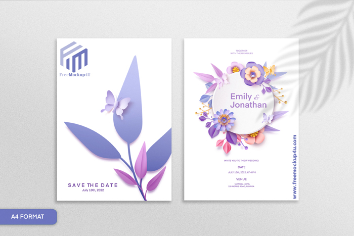 Double Sided Paper Style Floral Wedding Invitation With Purple Flower