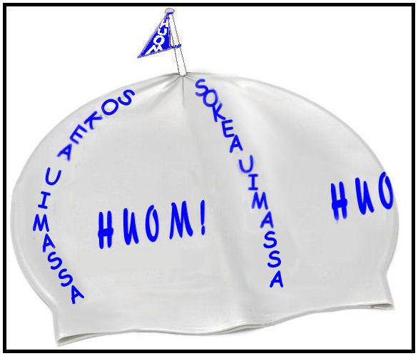 """Päivin tekstissä """"suunnitteleman"""" uimalakin yksi mahdollinen malli, jos ohjeittensa mukaan teksti """"SOKEA UIMASSA"""" useammassa kohdassa."""