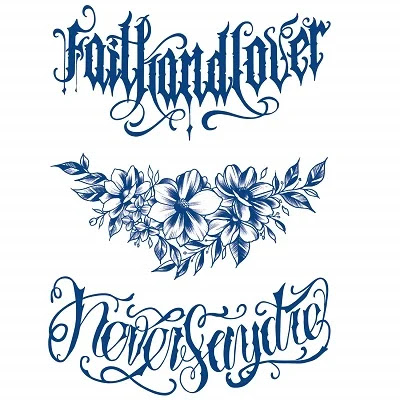 Semi Permanent Chest Flower Temporary Tattoos