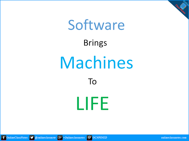"""Software brings the machine to life"" - Justify this satement."