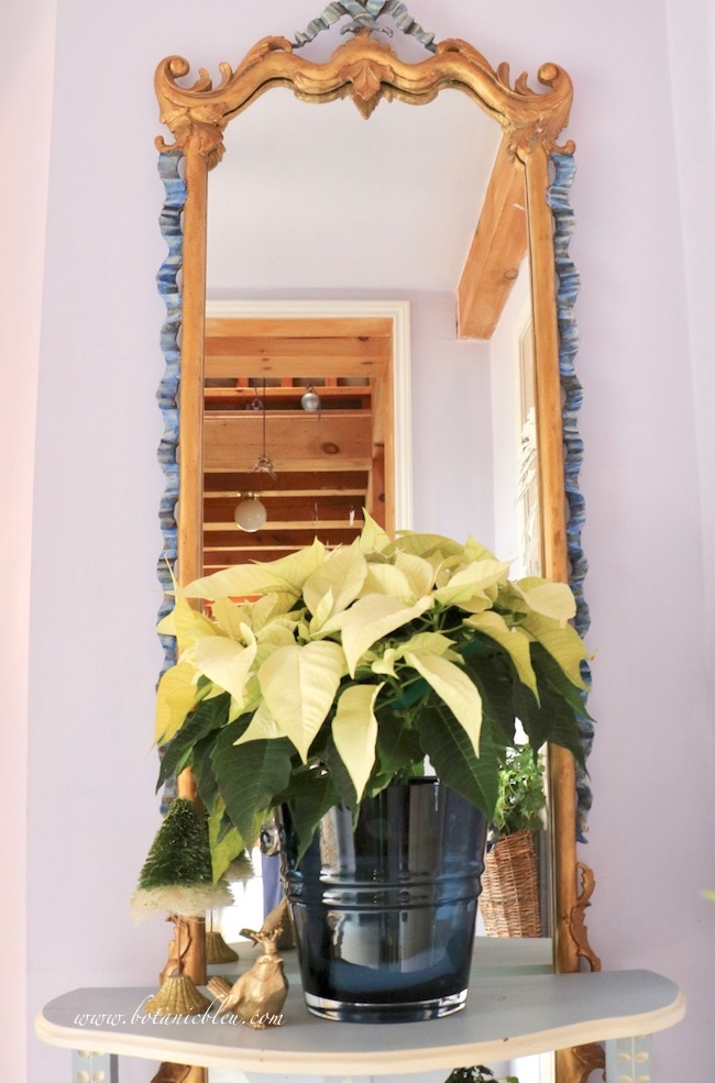 White poinsettia beautiful Christmas entry decor for traditional style in a post and beam house