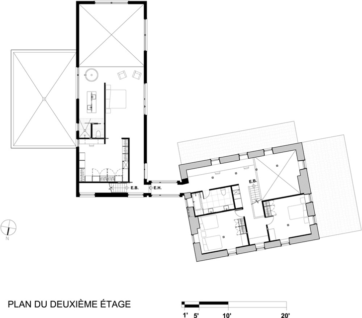 First floor plan of Renovated Bord-du-Lac House by Henri Cleinge