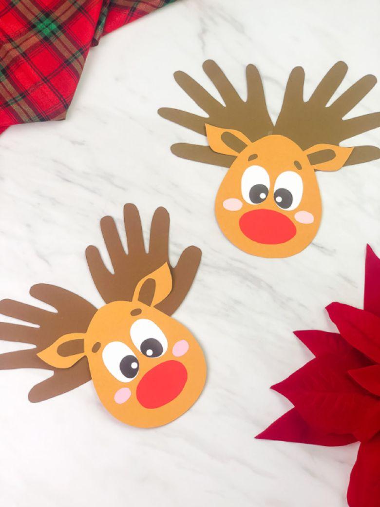 Handprint reindeer craft for toddlers and preschoolers