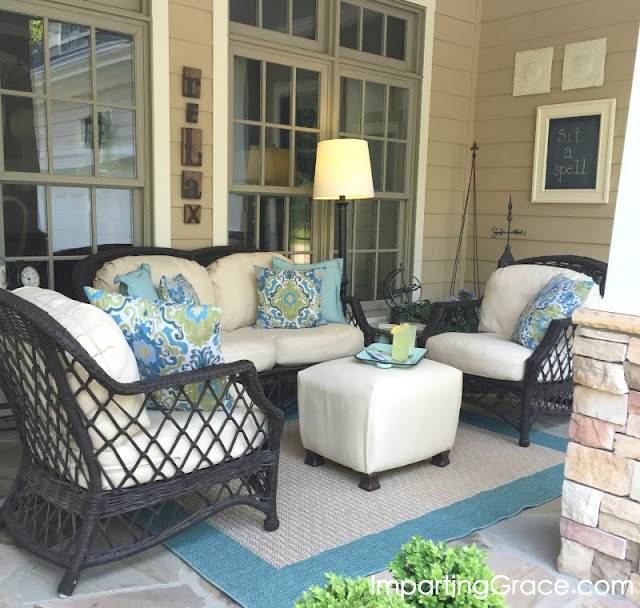 front porch furniture recovered in Sunbrella fabric