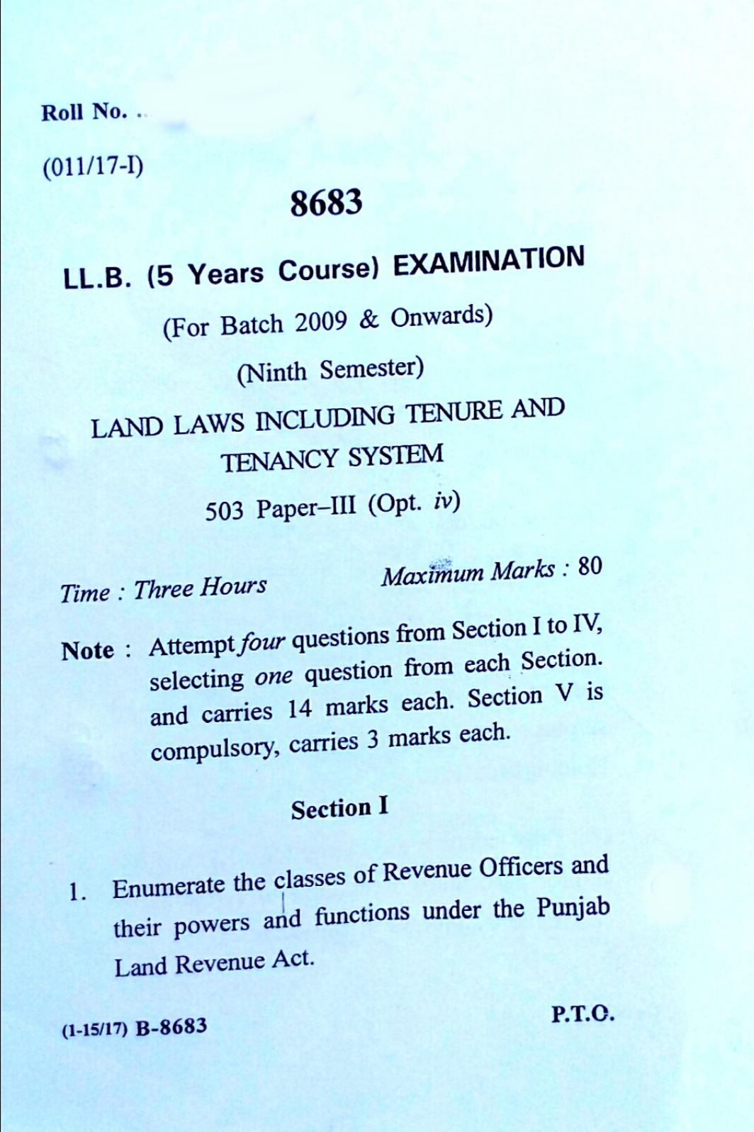 Previous/Last years question papers of Land Laws of LL B