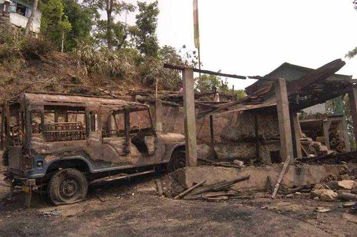 Darjeeling - House, commander jeep burnt in a post poll violence