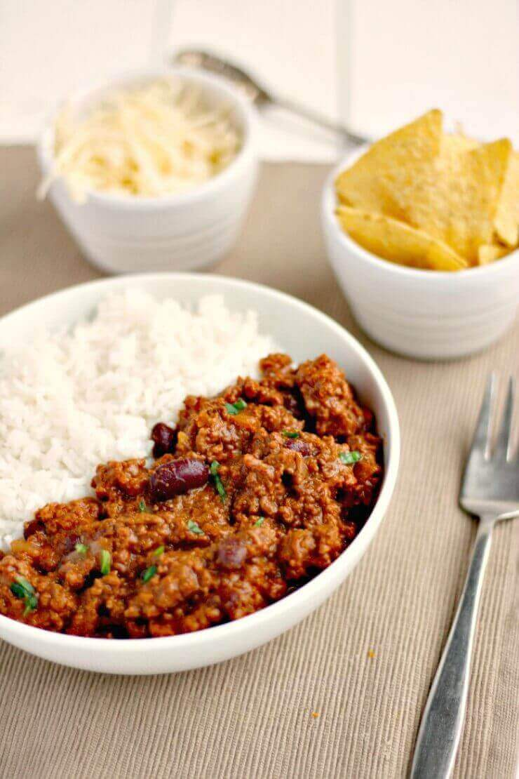 slow cooker chilli and rice