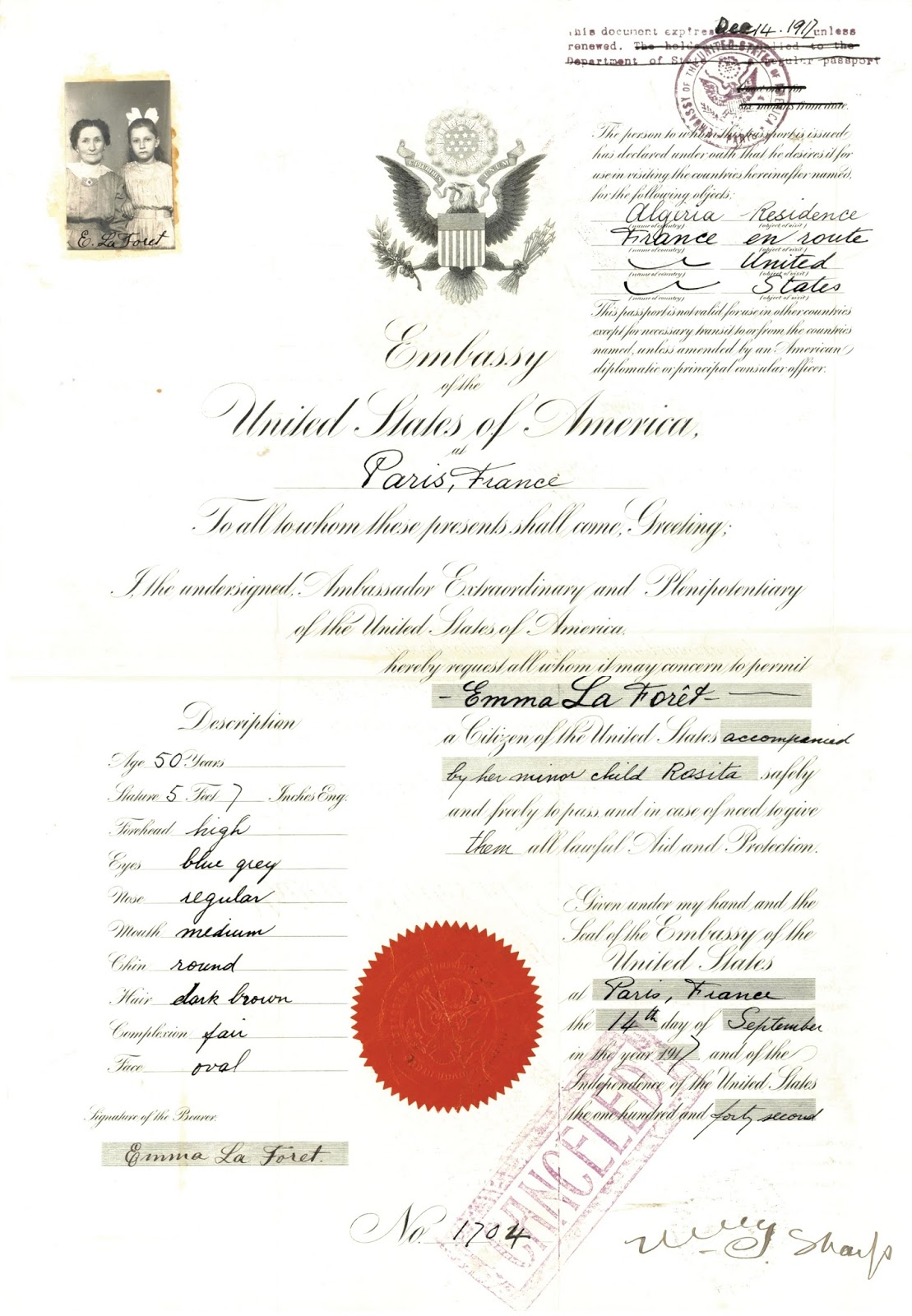 Ancestral discoveries treasure chest thursday emma la forts last week i posted emma la forts application for an emergency passport to leave europe in 1917 this week we get to see the passport itself yes aiddatafo Choice Image