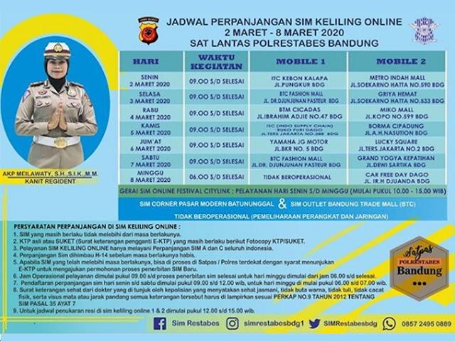 Jadwal Layanan SIM Keliling Polrestabes Bandung Bulan Maret 2020