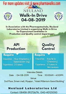 Neuland Laboratories - Walk-in interview for Production & QC on 4th August, 2019