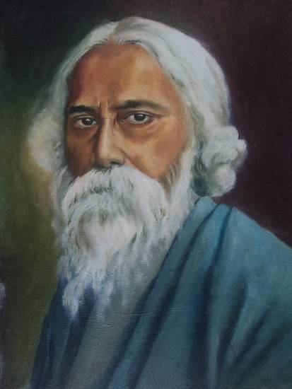 Tagore, painting by Sangita Sarkar (part of her portfolio of paintings on Indiaart)