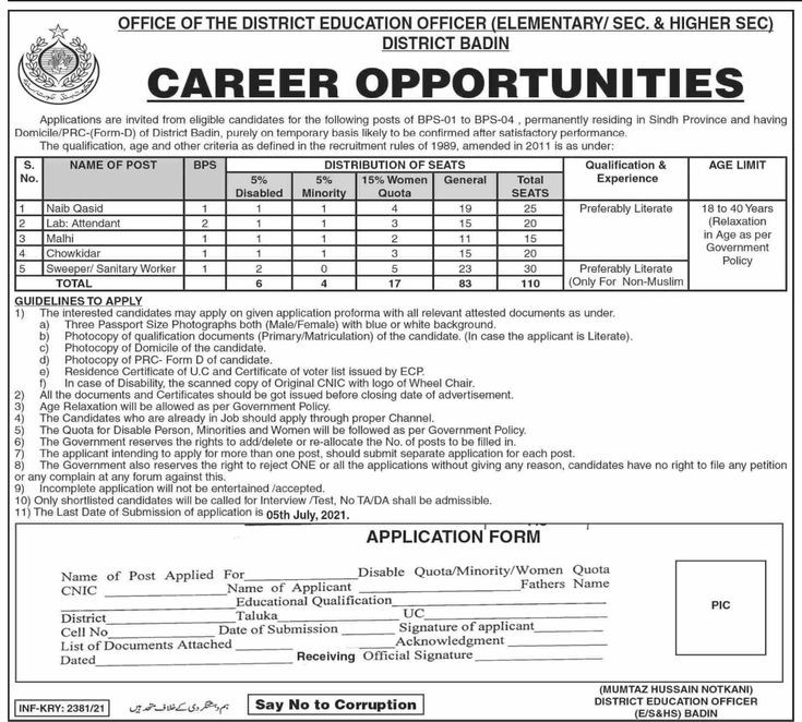 District Education Officer Elementary Secondary and Higher Secondary Jobs 2021 Badin  110 Posts