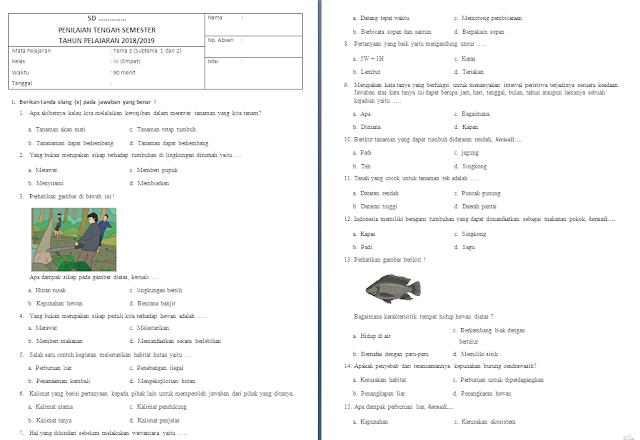 Soal UTS/PTS Kelas 4 SD/MI: Tema 3 Subtema 1-2