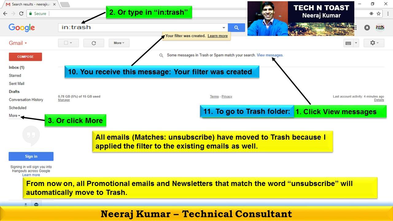 Trash Folder in Gmail
