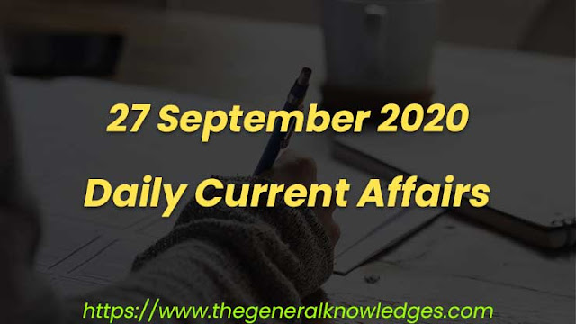 27 September 2020 Current Affairs Question and Answers in Hindi