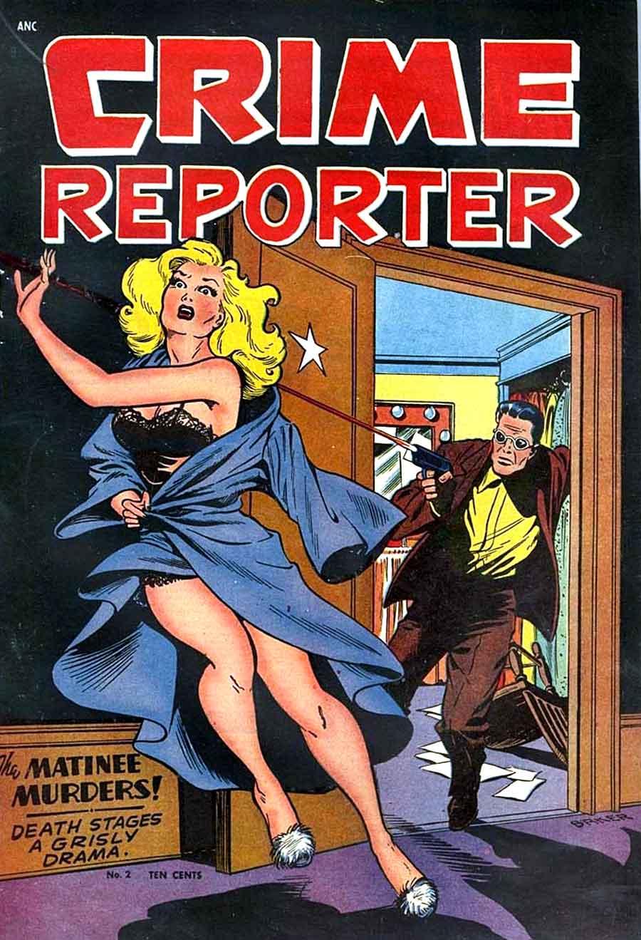 Crime Reporter v1 #2 - Matt Baker golden age crime comic book cover art