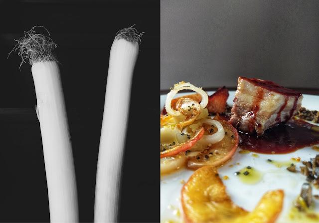 Schweinebauch vom Wollschwein mit Pflaumenlack an Apfel-Lauch-Gemüse mit Silvaner-Apfelsaftsirup, krosser Schwarte mit Kürbiskern-Mokka-Crumble und Kräuter-Traubenkern-Öl