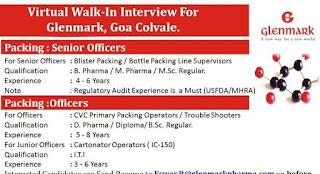ITI/ Diploma/ B Sc/ B Pharma/ M Pharma Candidates Requirement in Glenmark Pharma Goa Location Selection By Virtual Walk-In Interview