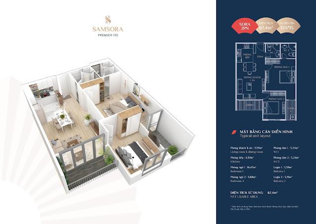 Thiết kế căn hộ 12A & 15: Diện tích 69,40m2