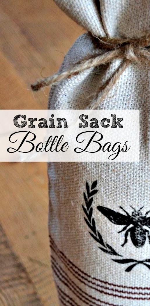 Grain Sack Wine Bottle Bags