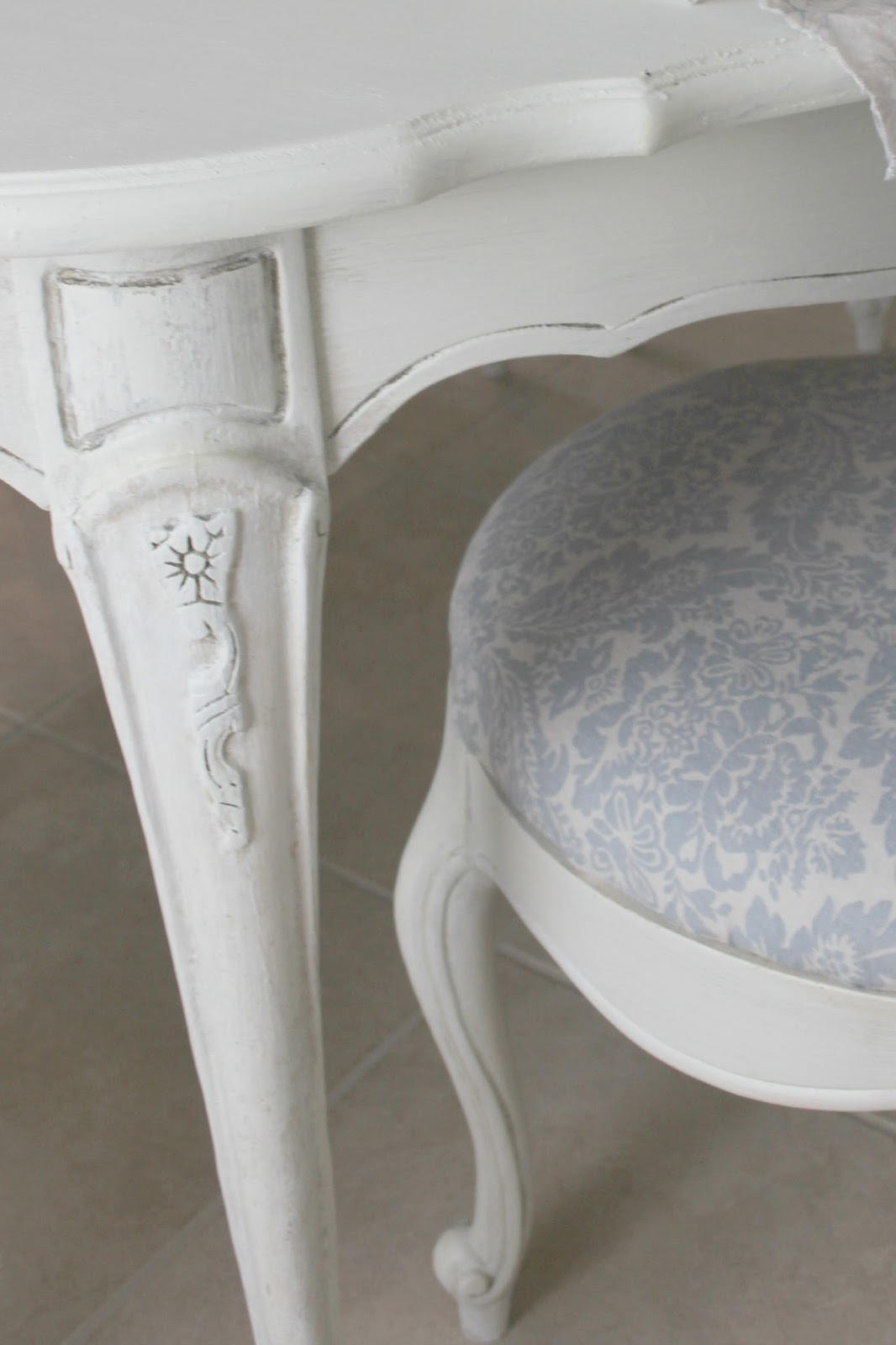 Shabby Chic Couture blue and white linen fabric on dining chair on Hello Lovely Studio