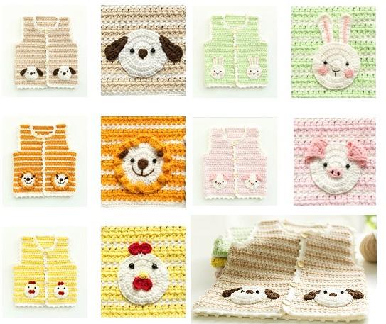 Схемы вязания детского жилета со зверюшками на карманах (4)