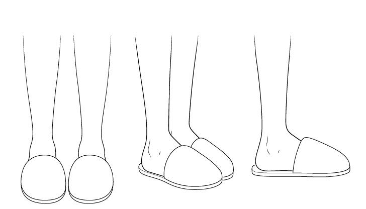 Menggambar sandal anime