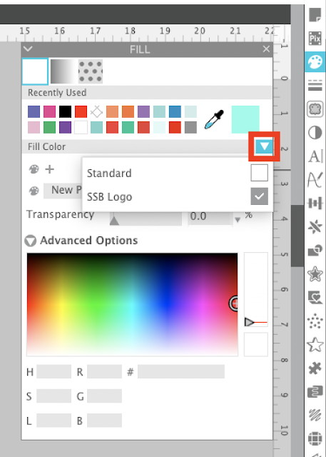 fill color, silhouette studio tutorials, studio v4.2, fill color swatches