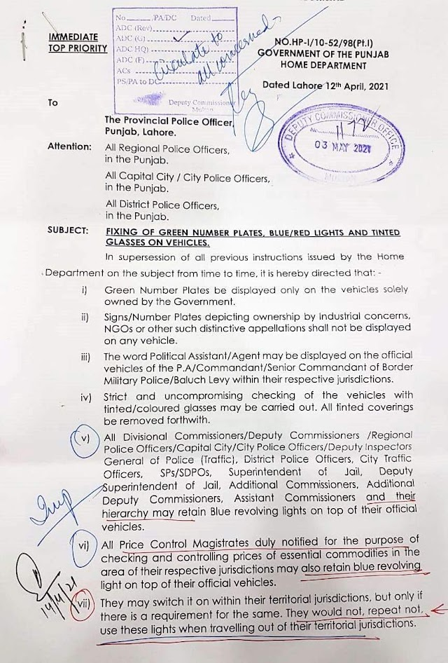 LAW / POLICY REGARDING FIXING OF GREEN NUMBER PLATES, BLUE / RED LIGHTS AND TINTED GLASSES ON VEHICLES