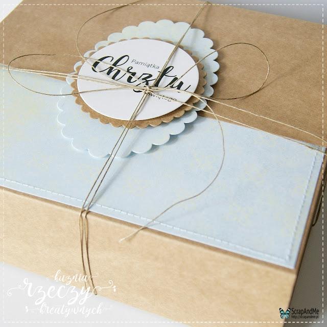 Wyjątkowa kartka z okazji Chrztu św. z ręcznie robionym pudełkiem.