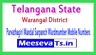 Parvathagiri Mandal Sarpanch Wardmumber Mobile Numbers List Warangal District in Telangana State