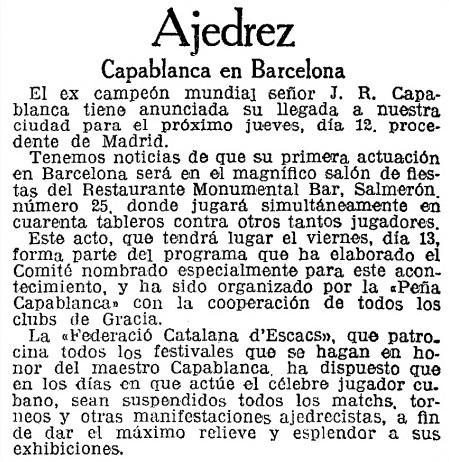 Recorte de La Vanguardia, 11/12/1935