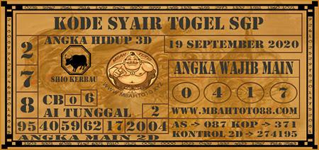Prediksi Togel Mbahtoto Singapura Sabtu 19 September 2020