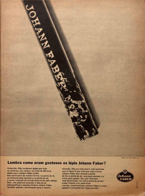 Propaganda antiga dos lápis Johann Faber veiculada em 1965