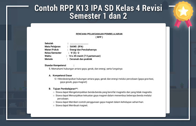 Contoh RPP K13 IPA SD Kelas 4 Revisi Semester 1 dan 2