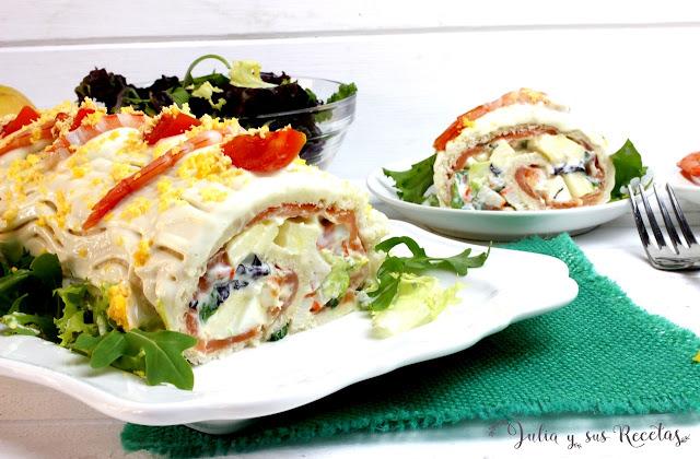 Brazo salado de marisco y salmón. Julia y sus recetas