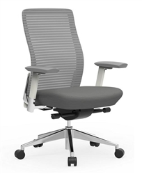 Gray Mesh Office Chair with White Frame