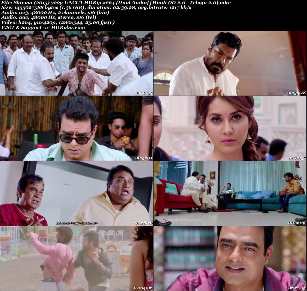 Shivam (2015) 720p UNCUT HDRip x264 [Dual Audio] [Hindi DD 2.0 - Telugu 2.0] Screenshot