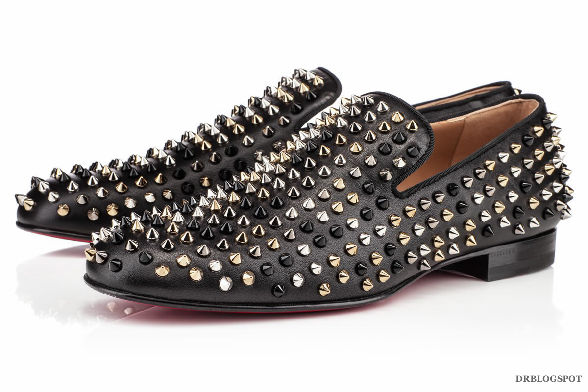 meet 21e15 6e714 Christian Louboutin Mixed Spikes Rollerboy Leather Flats ...