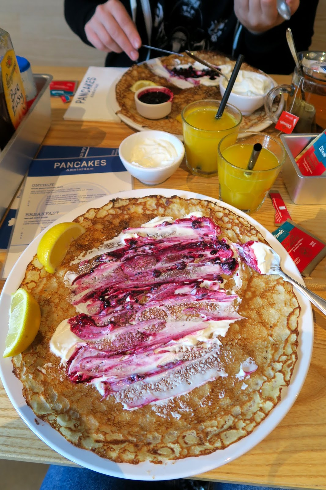 PANCAKES Amsterdam Dutch pancake with blueberry and yogurt