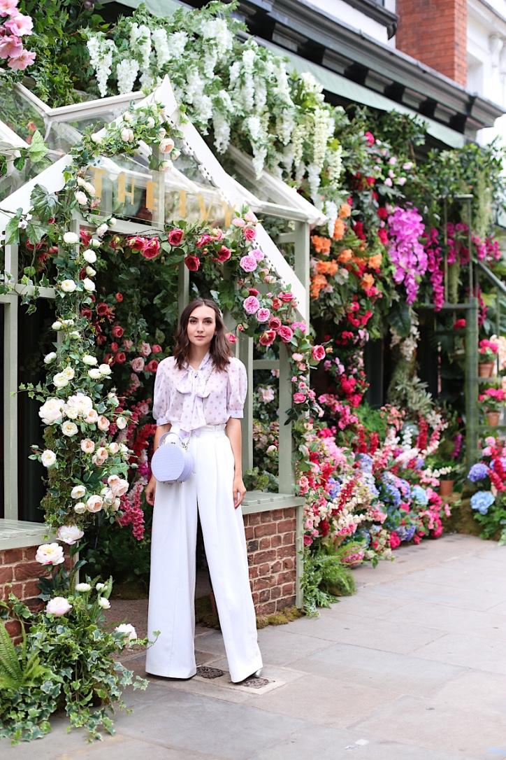 chicwish, aspinal of london, long white trousers, purple blouse