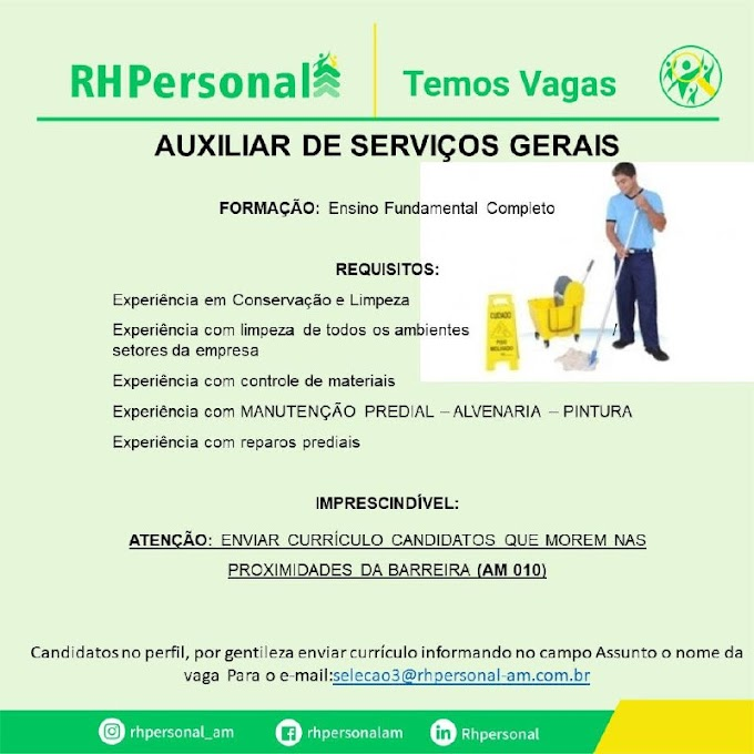 AUXILIAR DE SERVIÇOS GERAIS - RH PERSONAL