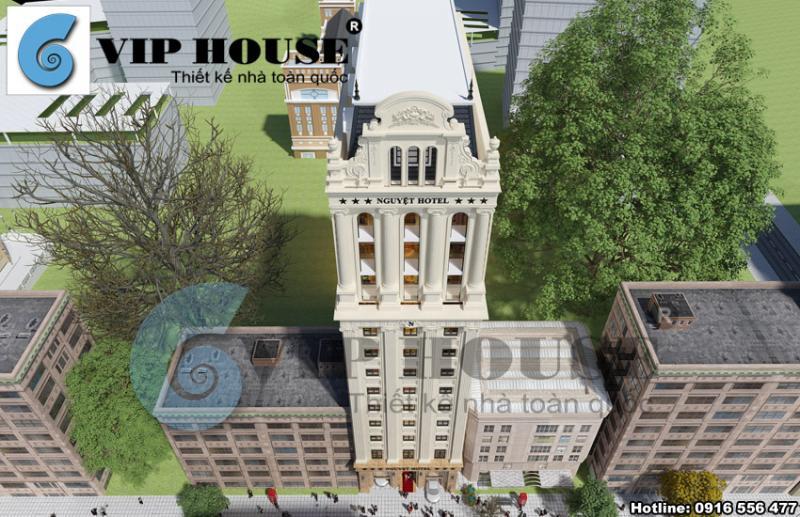 Hình ảnh: Phối cảnh từ trên cao xuống của thiết kế khách sạn 3 sao 13 tầng