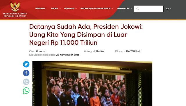 Sudah Hampir 4 Tahun, Apakah Jokowi Bisa Mengambil Uang 11.000 Triliun di Luar Negeri?